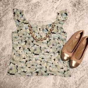 LOFT petite blue and green floral blouse